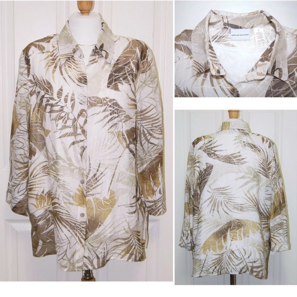 1441ebdce34 Alfred Dunner Tops | Size 14 Tropical Print Blouse | Poshmark